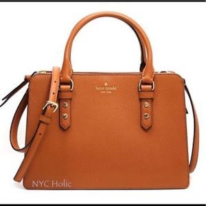Kate Spade Leather Satchel in Warm Cognac NWT!